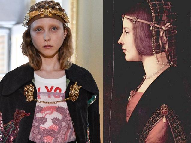 """sfilata cruise 2018 di Gucci e il """"Ritratto di giovane donna"""" (forse Beatrice d'Este) di Giovanni Ambrogio de Predis, 1490 circa."""