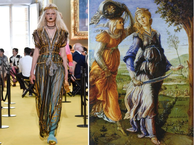 """sfilata cruise 2018 di Gucci e l'opera """"Il Ritorno di Giuditta a Betulia"""" di Sandro Botticelli, 1472 circa."""