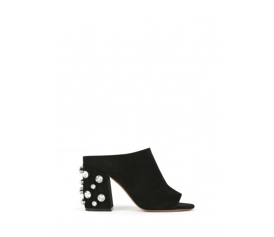 Mules con cristalli applicati sul tacco, Givenchy.